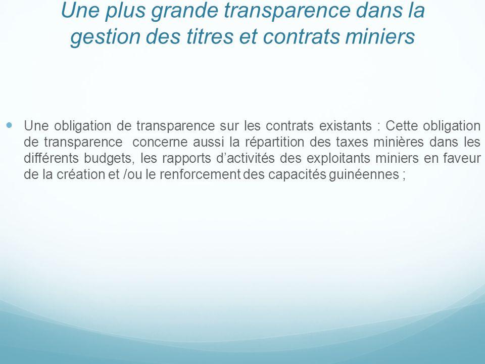 Une plus grande transparence dans la gestion des titres et contrats miniers