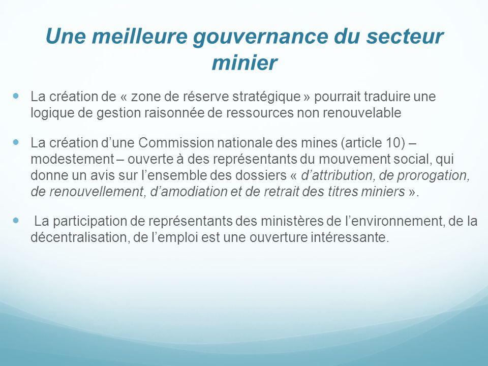 Une meilleure gouvernance du secteur minier