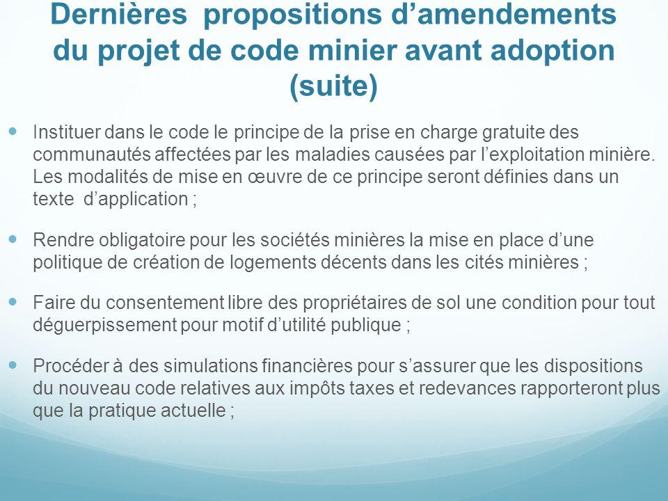 Dernières propositions d'amendements du projet de code minier avant adoption (suite)