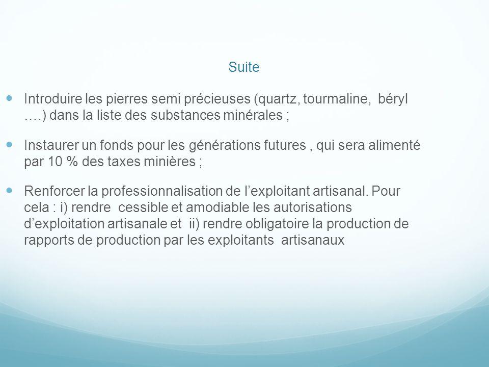 Suite Introduire les pierres semi précieuses (quartz, tourmaline, béryl ….) dans la liste des substances minérales ;