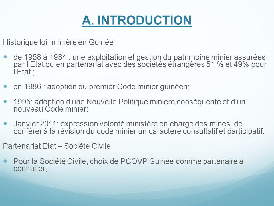 A. INTRODUCTION Historique loi minière en Guinée