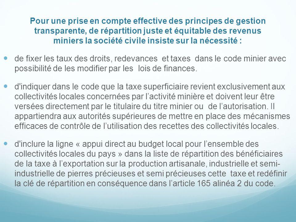 Pour une prise en compte effective des principes de gestion transparente, de répartition juste et équitable des revenus miniers la société civile insiste sur la nécessité :
