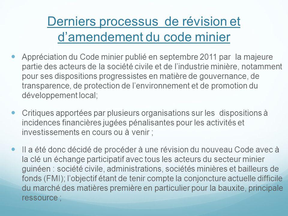 Derniers processus de révision et d'amendement du code minier