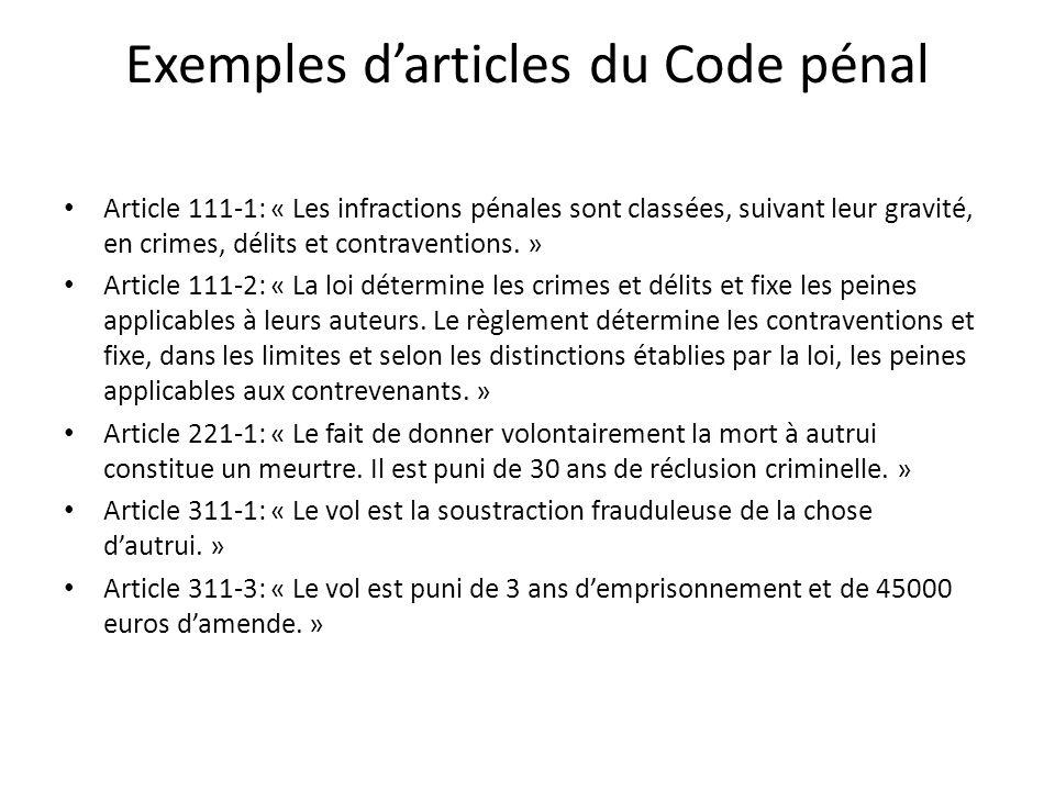 Exemples d'articles du Code pénal