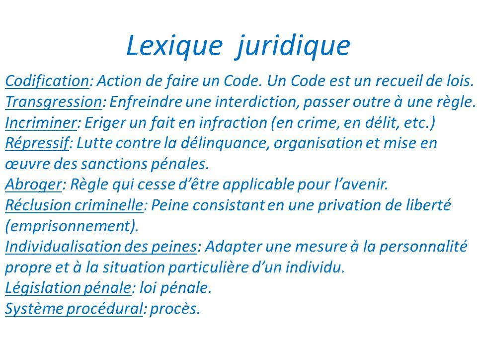 Lexique juridique Codification: Action de faire un Code. Un Code est un recueil de lois.