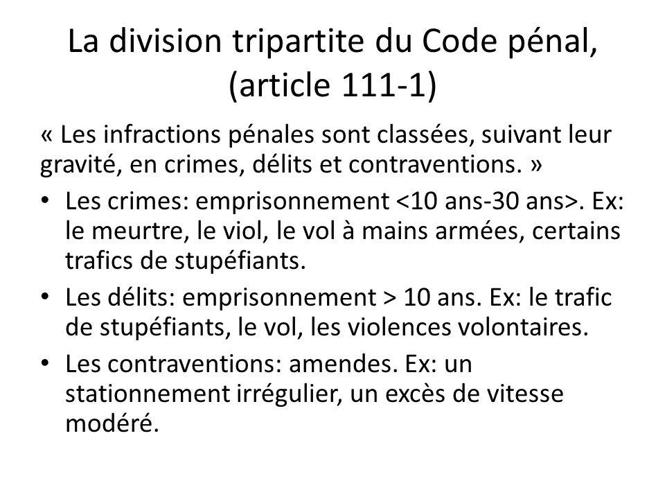 La division tripartite du Code pénal, (article 111-1)