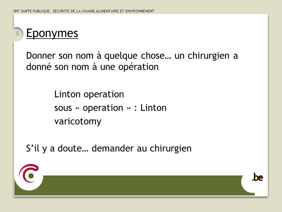 Eponymes Donner son nom à quelque chose… un chirurgien a donné son nom à une opération. Linton operation.