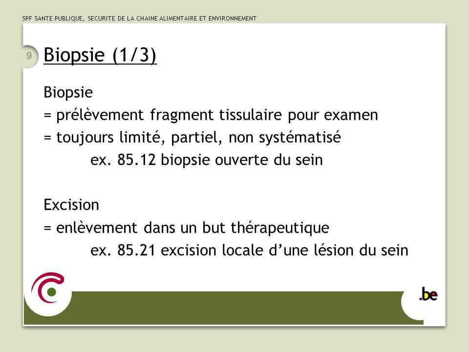 Biopsie (1/3) Biopsie = prélèvement fragment tissulaire pour examen
