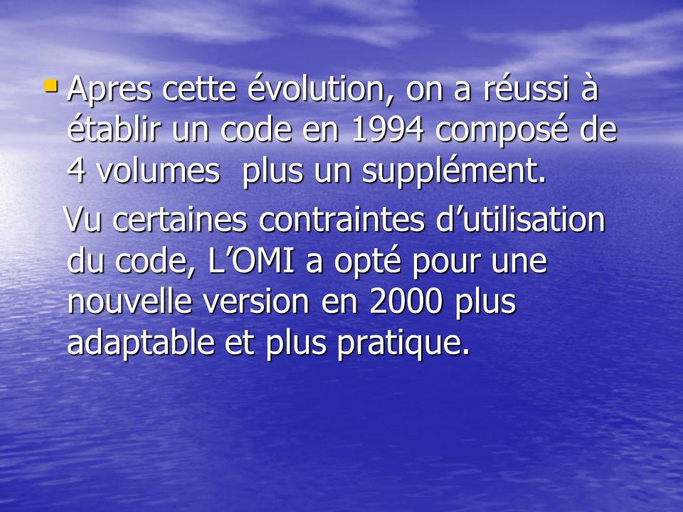 Apres cette évolution, on a réussi à établir un code en 1994 composé de 4 volumes plus un supplément.