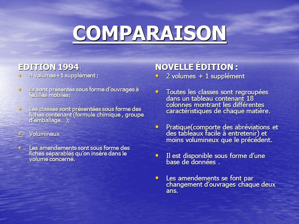 COMPARAISON EDITION 1994 : NOVELLE ÉDITION : 2 volumes + 1 supplément