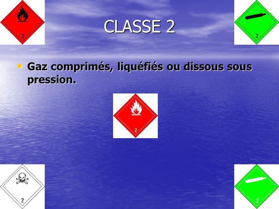 CLASSE 2 Gaz comprimés, liquéfiés ou dissous sous pression.