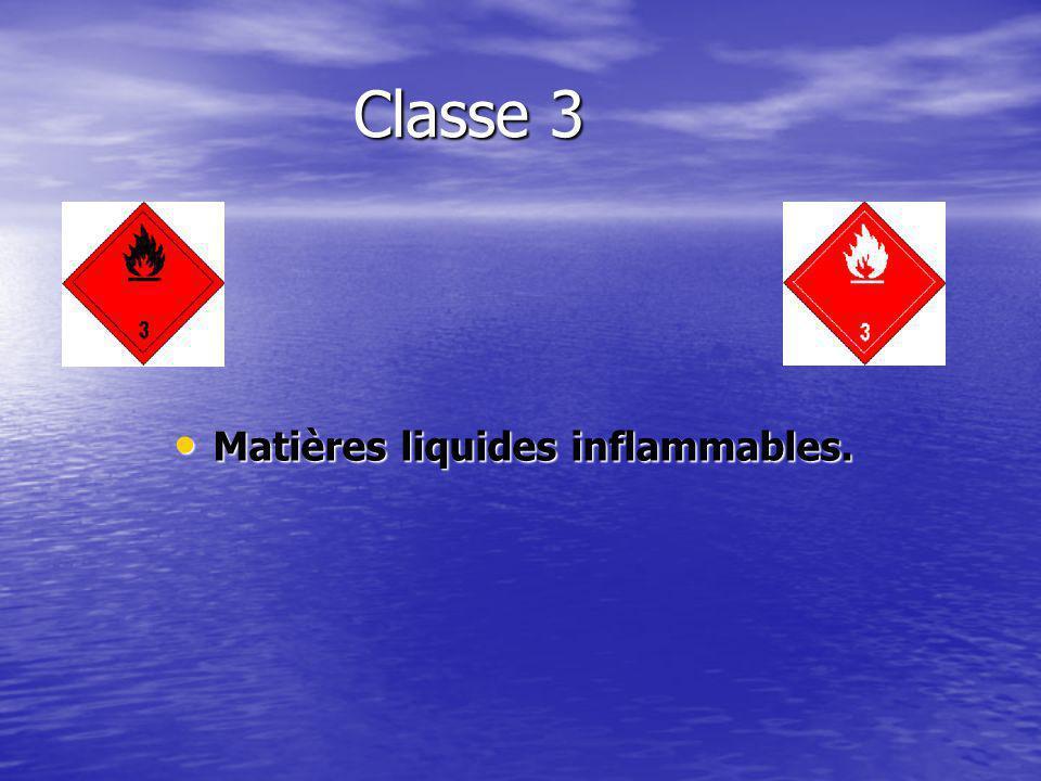 Matières liquides inflammables.