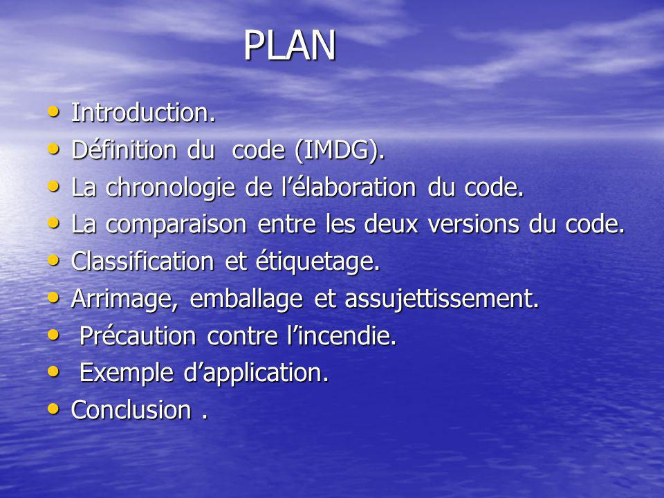 PLAN Introduction. Définition du code (IMDG).