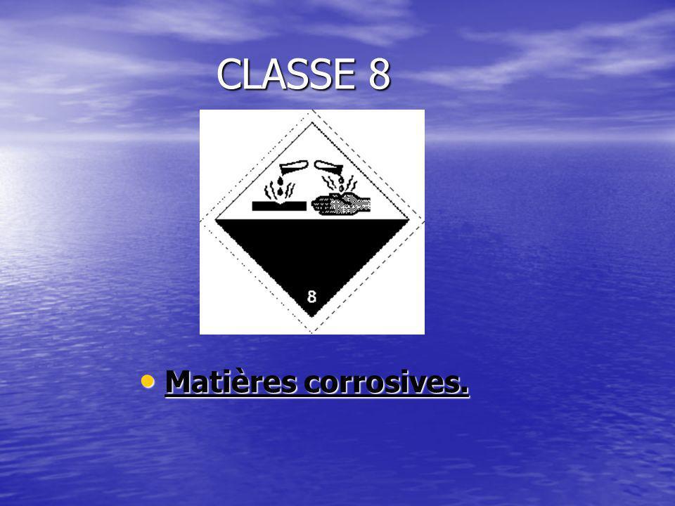CLASSE 8 Matières corrosives.