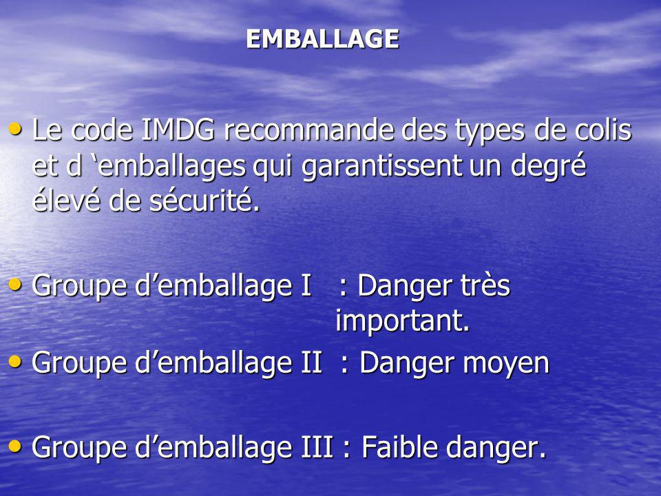 Groupe d'emballage I : Danger très important.