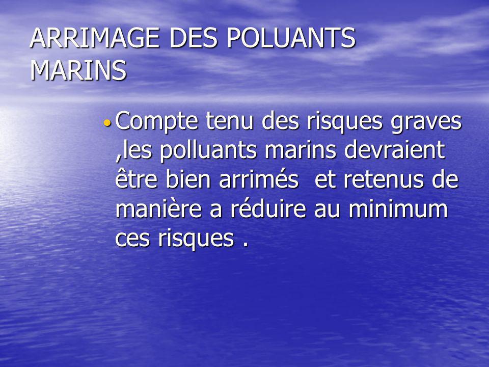 ARRIMAGE DES POLUANTS MARINS