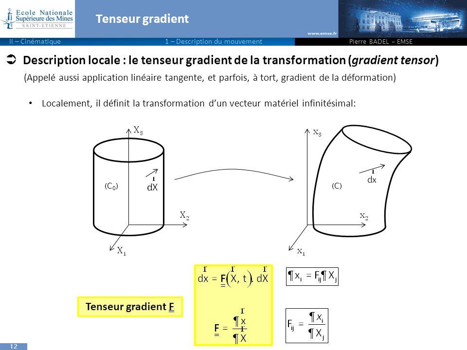 Tenseur gradient II – Cinématique 1 – Description du mouvement. Pierre BADEL - EMSE.