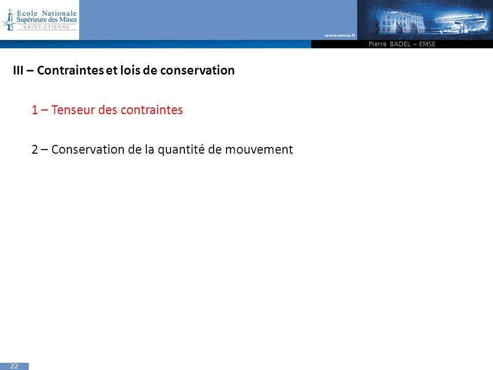 III – Contraintes et lois de conservation 1 – Tenseur des contraintes