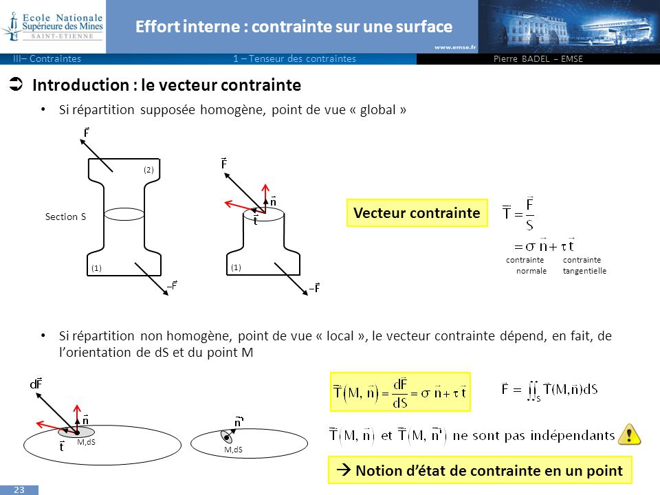 Effort interne : contrainte sur une surface