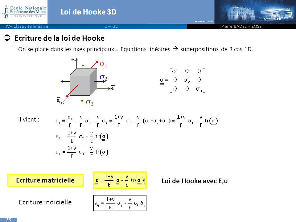 Ecriture de la loi de Hooke