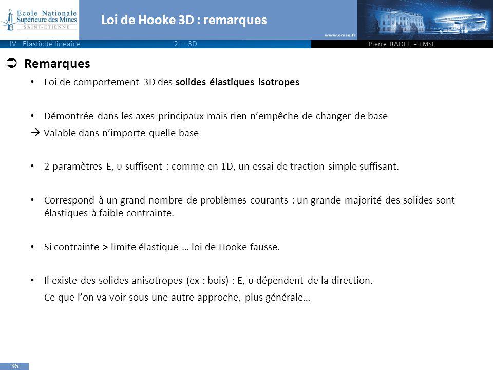 Loi de Hooke 3D : remarques