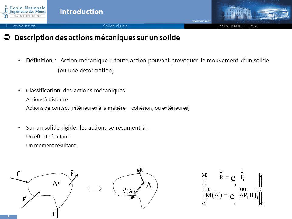 Description des actions mécaniques sur un solide