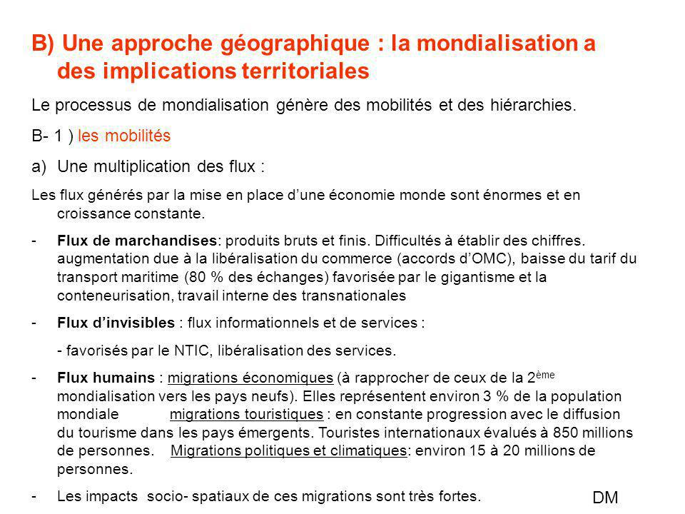 B) Une approche géographique : la mondialisation a des implications territoriales