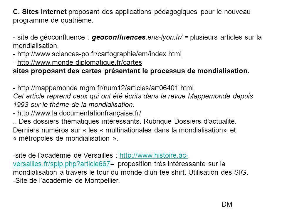 C. Sites internet proposant des applications pédagogiques pour le nouveau programme de quatrième.