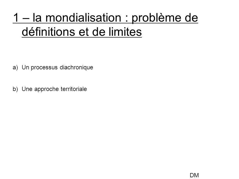 1 – la mondialisation : problème de définitions et de limites