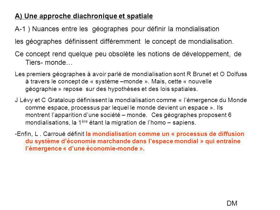 A) Une approche diachronique et spatiale