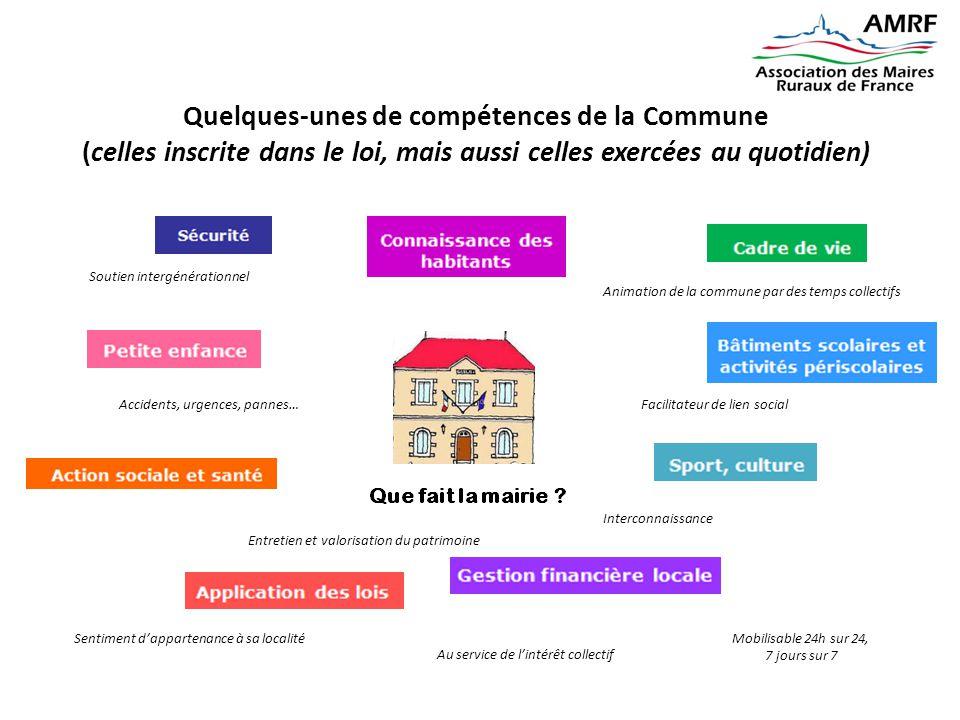 Quelques-unes de compétences de la Commune (celles inscrite dans le loi, mais aussi celles exercées au quotidien)
