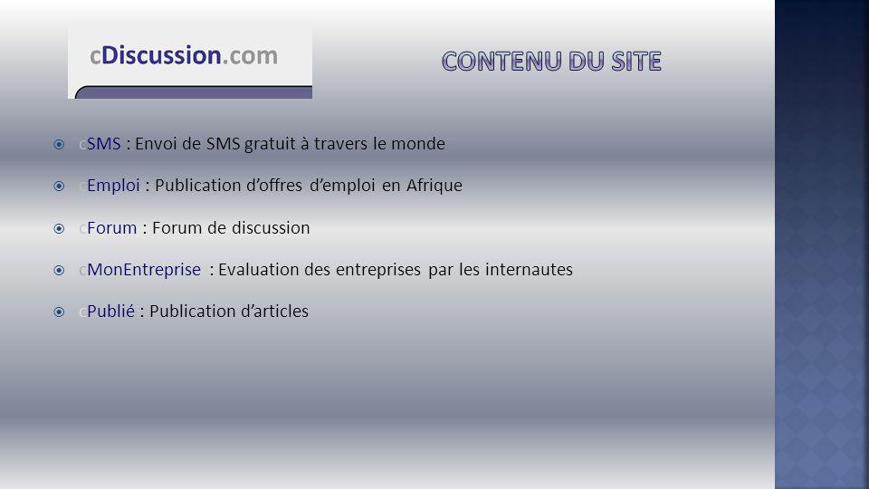 Contenu du site cSMS : Envoi de SMS gratuit à travers le monde