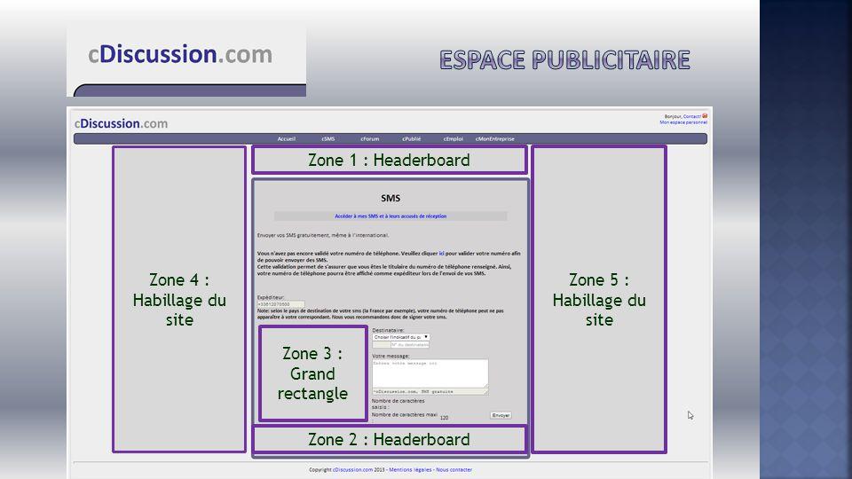 Espace publicitaire Zone 4 : Habillage du site Zone 1 : Headerboard