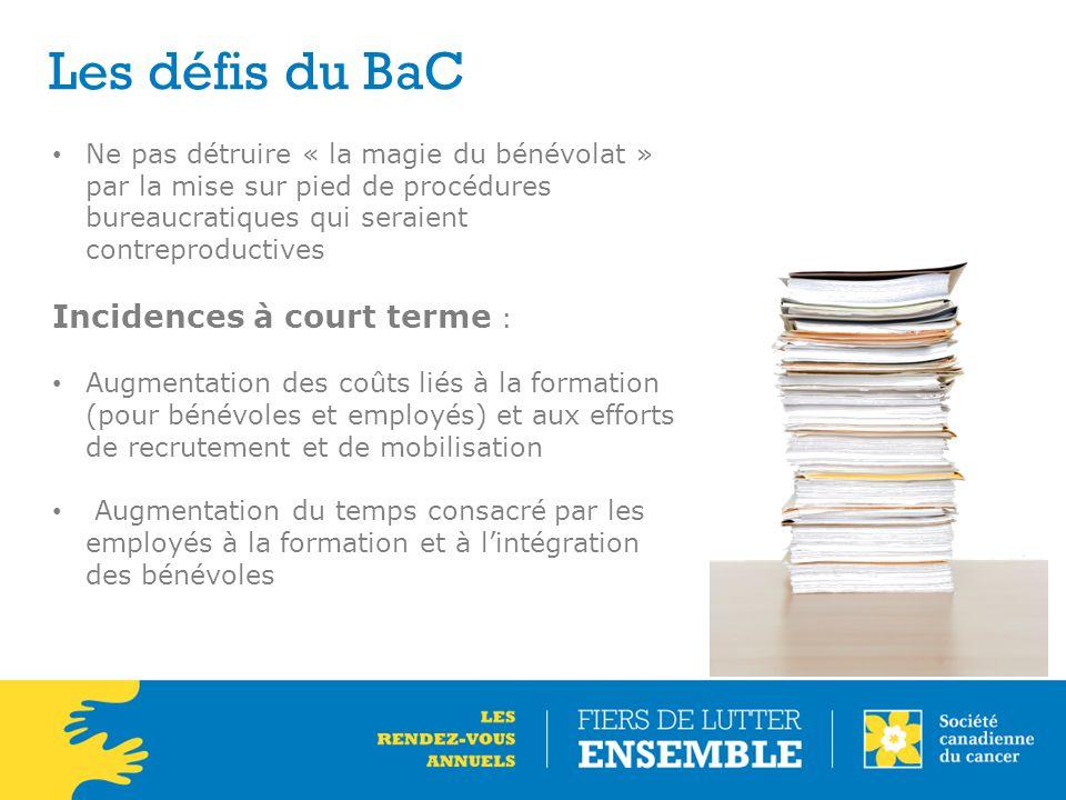 Les défis du BaC Incidences à court terme :
