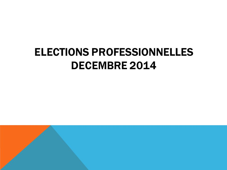 ELECTIONS PROFESSIONNELLES DECEMBRE 2014