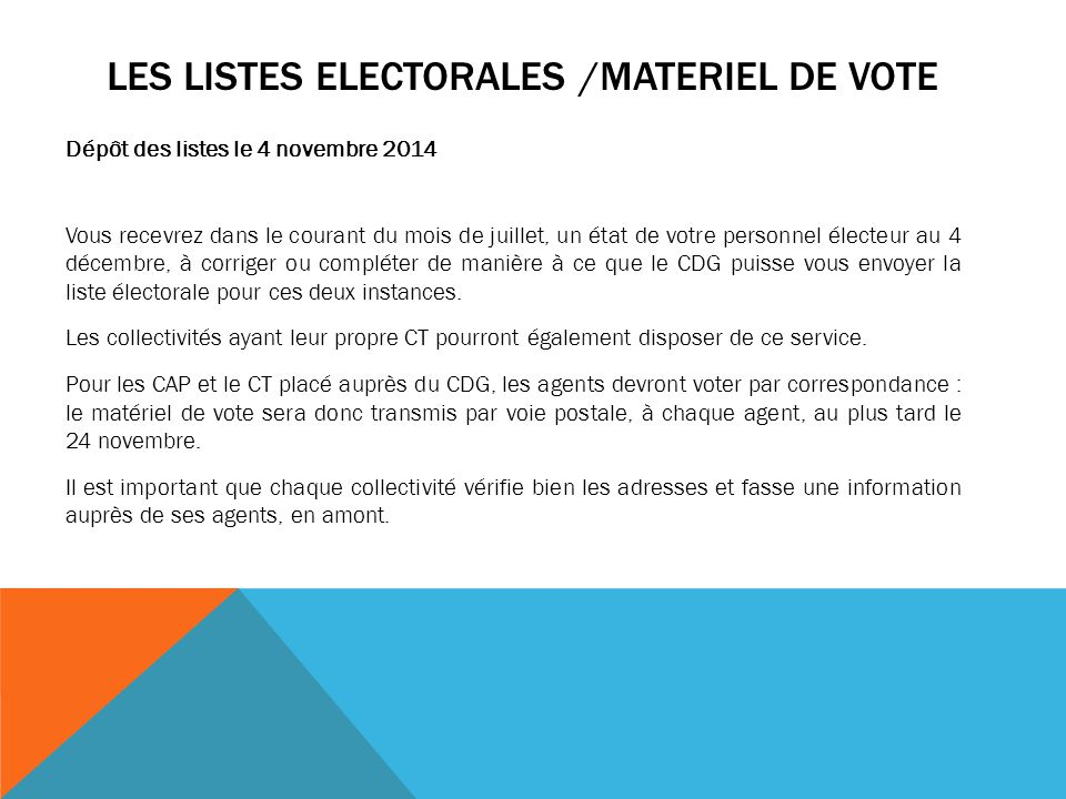 Les listes electorales /MATERIEL DE VOTE