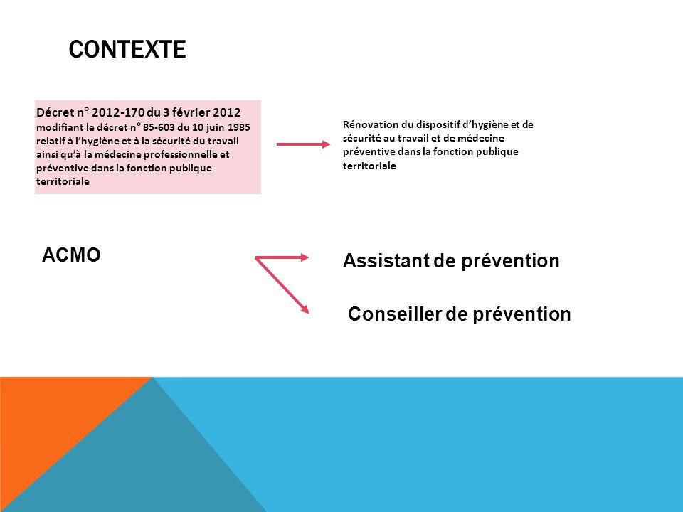 Contexte ACMO Assistant de prévention Conseiller de prévention