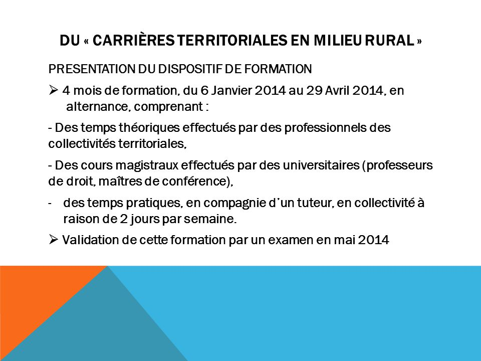 DU « Carrières territoriales en milieu rural »
