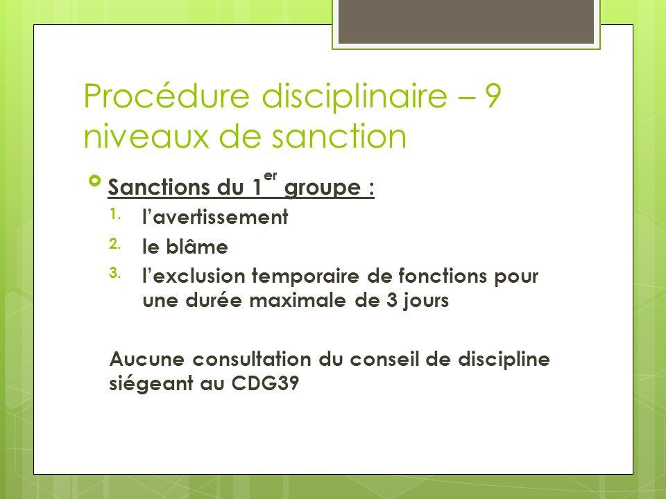 Procédure disciplinaire – 9 niveaux de sanction