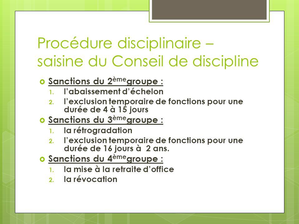 Procédure disciplinaire – saisine du Conseil de discipline