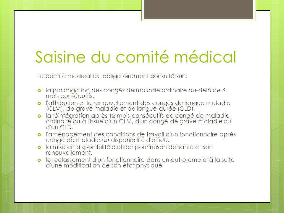 Saisine du comité médical