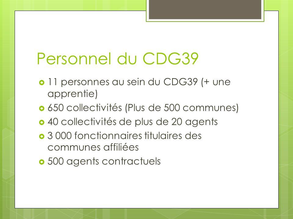 Personnel du CDG39 11 personnes au sein du CDG39 (+ une apprentie)