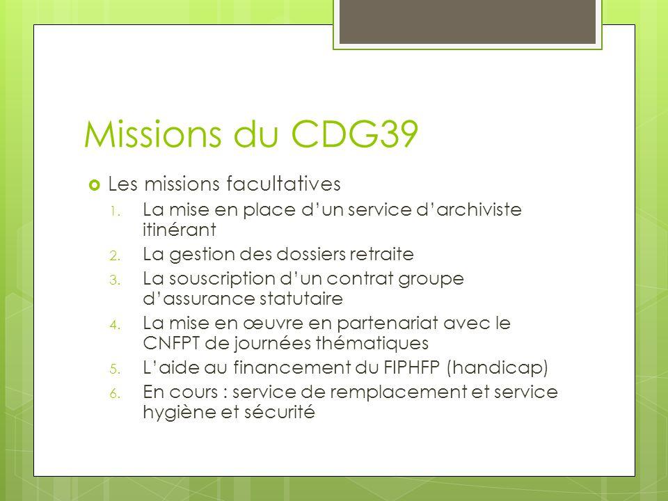 Missions du CDG39 Les missions facultatives