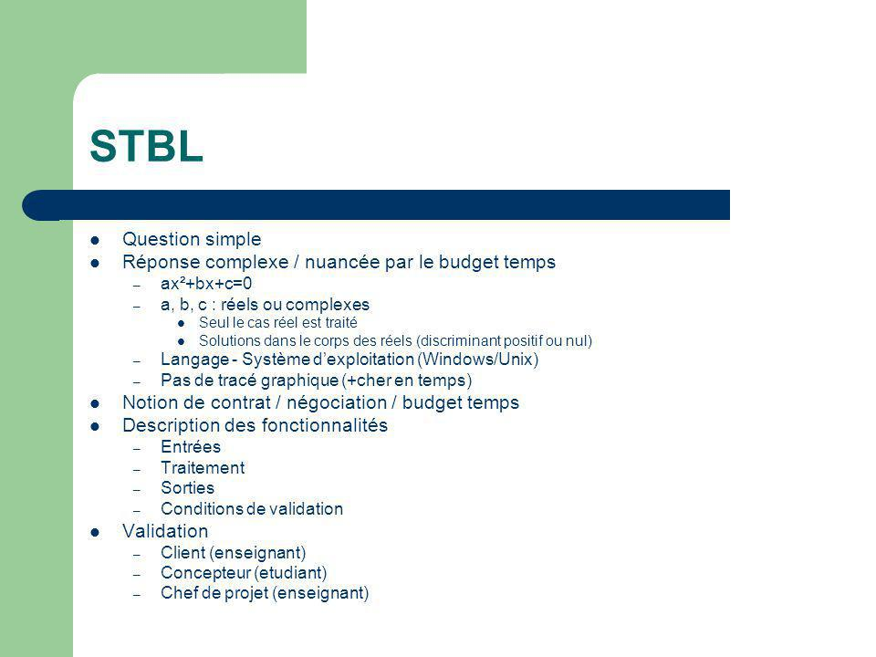 STBL Question simple Réponse complexe / nuancée par le budget temps