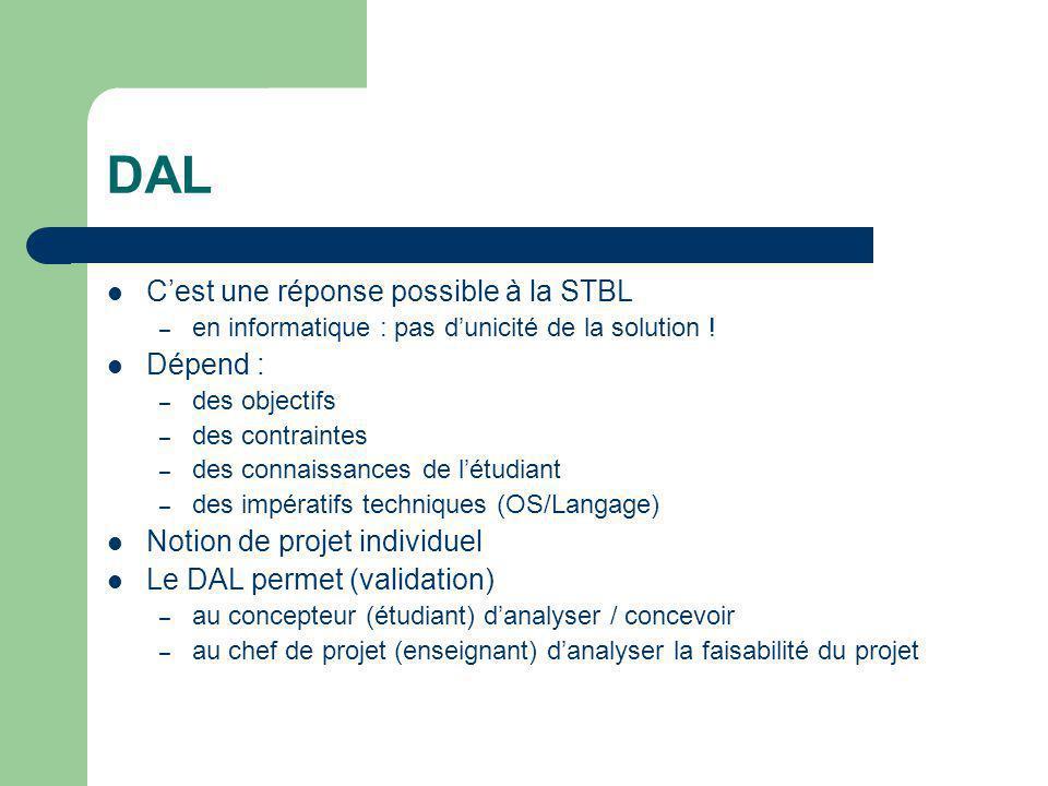 DAL C'est une réponse possible à la STBL Dépend :