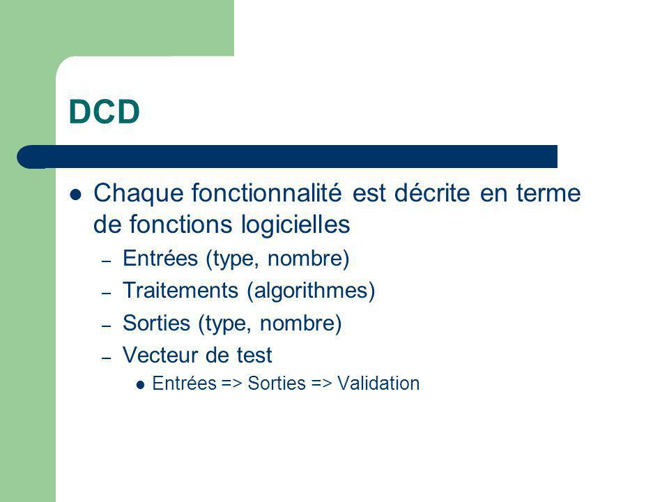 DCD Chaque fonctionnalité est décrite en terme de fonctions logicielles. Entrées (type, nombre) Traitements (algorithmes)