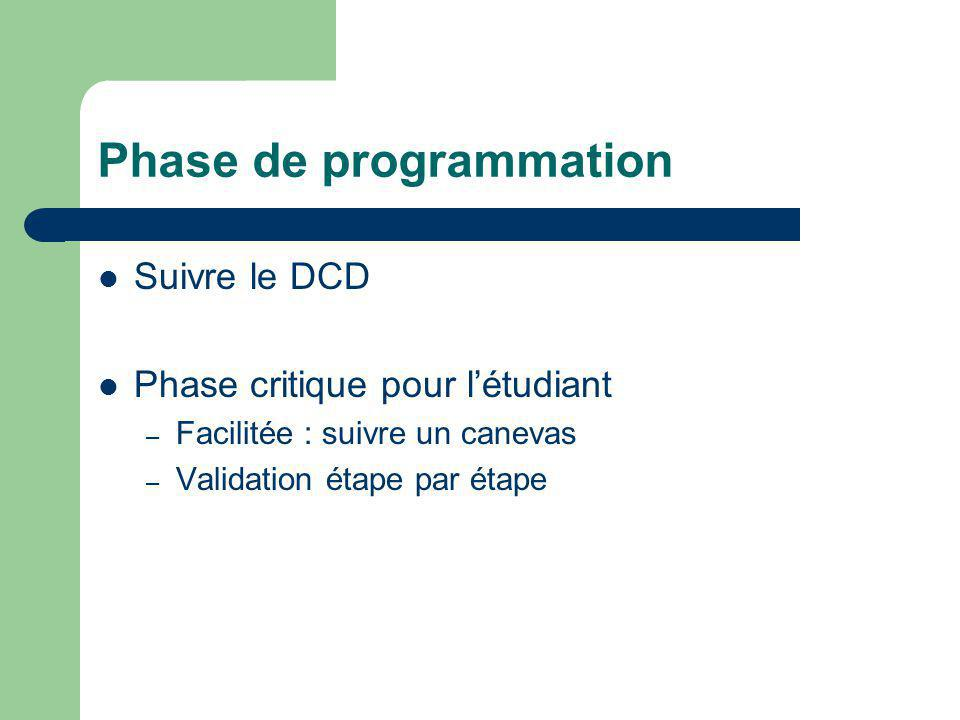 Phase de programmation