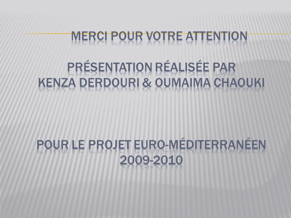 Merci pour votre attention présentation réalisée par Kenza derdouri & oumaima chaouki pour le projet euro-méditerranéen 2009-2010