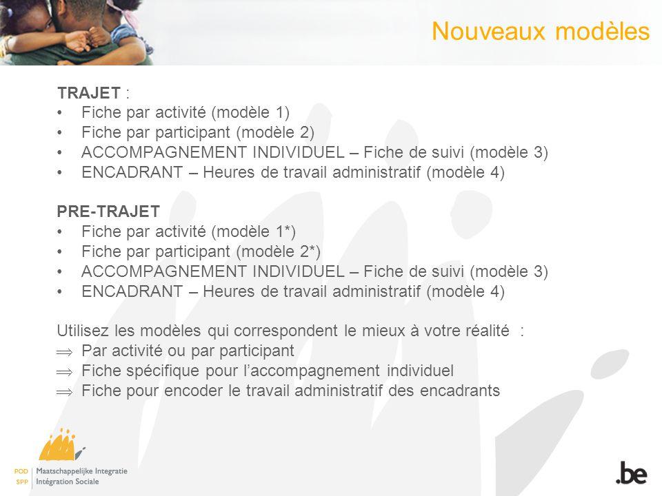Nouveaux modèles TRAJET : Fiche par activité (modèle 1)