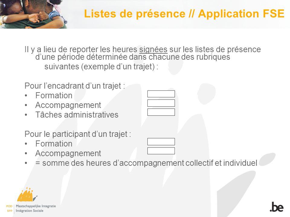 Listes de présence // Application FSE